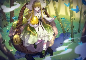 Rating: Safe Score: 27 Tags: blonde_hair blue_eyes butterfly dress flowers food forever_7th_capital fruit hat leaves long_hair ribbons tagme_(artist) tree water User: BattlequeenYume