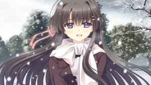 Rating: Safe Score: 45 Tags: black_hair blue_eyes game_cg hananomiya_mizuho long_hair navel_(company) nishimata_aoi scarf snow tears tsuki_ni_yorisou_otome_no_sahou User: Maboroshi