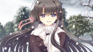 Rating: Safe Score: 45 Tags: black_hair blue_eyes game_cg hananomiya_mizuho long_hair nishimata_aoi scarf snow tears tsuki_ni_yorisou_otome_no_sahou User: Maboroshi