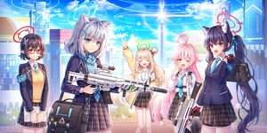 Rating: Safe Score: 26 Tags: animal_ears ayane_(blue_archive) blue_archive blush building city clouds glasses gray_hair gun halo hayun hoshino_(blue_archive) long_hair microphone nonomi_(blue_archive) pink_hair pointed_ears purple_hair red_eyes school_uniform serika_(blue_archive) shiroko_(blue_archive) short_hair skirt sky tie twintails weapon wink yellow_eyes User: BattlequeenYume