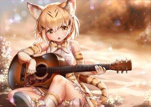 Rating: Safe Score: 128 Tags: animal_ears anthropomorphism blonde_hair blush bow catgirl elbow_gloves gloves instrument kemono_friends ks long_hair sand_cat_(kemono_friends) short_hair tail yellow_eyes User: RyuZU