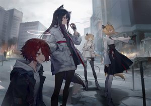 Rating: Safe Score: 98 Tags: animal_ears arknights black_hair blonde_hair boots building cigarette city croissant_(arknights) exusiai_(arknights) gloves group halo hoodie horns huanxiang_heitu long_hair orange_eyes pantyhose red_eyes red_hair shirt short_hair shorts skirt smoking sora_(arknights) texas_(arknights) twintails wolfgirl yellow_eyes User: BattlequeenYume