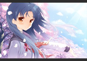 Rating: Safe Score: 31 Tags: blue_hair cherry_blossoms clouds idolmaster kisaragi_chihaya komi_zumiko petals seifuku sky yellow_eyes User: w7382001