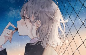 Rating: Safe Score: 43 Tags: blush brown_eyes candy chocolate clouds crying gray_hair necojishi night original short_hair sky stars tears valentine User: RyuZU