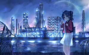 Rating: Safe Score: 59 Tags: blue_eyes blue_hair breasts building camera ezoshika_gg industrial original ponytail rain see_through short_hair silhouette skirt sky umbrella water User: RyuZU