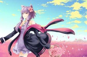 Rating: Safe Score: 148 Tags: catgirl clouds dress long_hair namamo_nanase petals purple_eyes purple_hair sky thighhighs vocaloid yuzuki_yukari User: gnarf1975