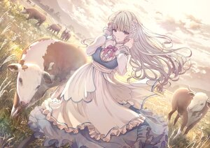 Rating: Questionable Score: 82 Tags: aliasing animal apple228 apron clouds dress grass original sky User: BattlequeenYume