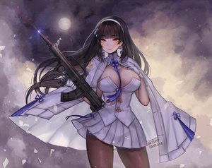 Rating: Safe Score: 48 Tags: anthropomorphism black_hair blush breast_hold breasts cape cleavage clouds girls_frontline gloves gun headband long_hair military moon night pantyhose qbz-95_(girls_frontline) rainbow signed skirt sky stars teru_(renkyu) tie uniform weapon yellow_eyes User: otaku_emmy