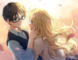Rating: Safe Score: 29 Tags: arima_kousei blonde_hair ika_(4801055) long_hair male miyazono_kaori petals shigatsu_wa_kimi_no_uso signed User: mattiasc02