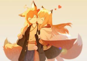 Rating: Safe Score: 57 Tags: 2girls animal_ears blonde_hair foxgirl japanese_clothes long_hair orange orange_hair original polychromatic shoujo_ai tagme_(artist) tail User: sadodere-chan