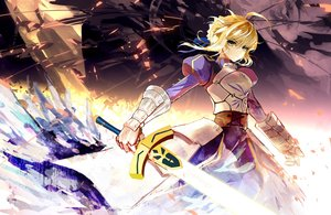 Rating: Safe Score: 141 Tags: armor blonde_hair fate/stay_night green_eyes jpeg_artifacts saber sixingcao sword weapon User: Flandre93