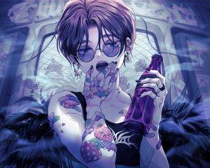 Rating: Safe Score: 25 Tags: aki_(xxparadexx) all_male bandaid black_eyes black_hair drink male original scar short_hair sunglasses tattoo User: RyuZU
