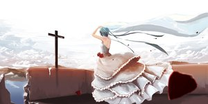 Rating: Safe Score: 44 Tags: cross flowers hatsune_miku hazfirst petals rose vocaloid wedding_attire User: FormX