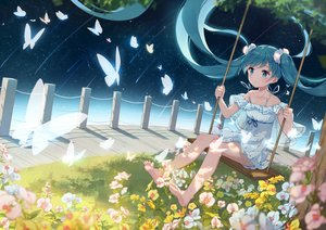 Rating: Safe Score: 82 Tags: aqua_eyes aqua_hair barefoot butterfly flowers grass hatsune_miku long_hair stars twintails vocaloid yue_yue User: FormX