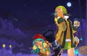 Rating: Safe Score: 26 Tags: 2girls animal blue_hair braids drink gloves green_hair jpeg_artifacts long_hair mabinogi meriel moon night ponytail purple_eyes short_hair snow stars toro vena User: Dust