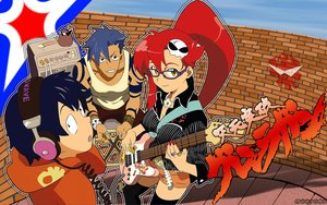Rating: Safe Score: 12 Tags: black_eyes black_hair blue_hair breasts brown_eyes glasses guitar headphones instrument kamina logo long_hair male ponytail red_hair short_hair shorts simon tagme_(artist) tattoo tengen_toppa_gurren_lagann thighhighs yellow_eyes yoko_littner User: RyuZU