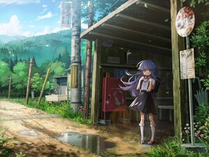 Rating: Safe Score: 55 Tags: bow clouds flowers furude_rika grass higurashi_no_naku_koro_ni kneehighs long_hair nshi00 purple_eyes purple_hair scenic skirt sky umbrella User: mattiasc02