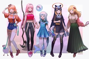 Rating: Safe Score: 31 Tags: animal aqua_eyes bird blonde_hair blue_eyes blue_hair blush book boots bow bsapricot choker dress gawr_gura green_eyes group halo hat headband hololive loli long_hair mori_calliope navel necklace ninomae_ina'nis orange_hair pink_eyes pink_hair purple_eyes scythe short_hair shorts skirt tail takanashi_kiara thighhighs watermark watson_amelia weapon white_hair wristwear zettai_ryouiki User: otaku_emmy