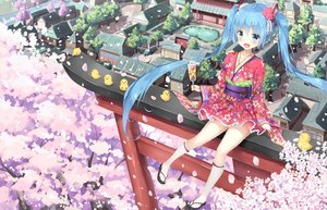 Rating: Safe Score: 55 Tags: aliasing animal aqua_eyes aqua_hair bird bow building cherry_blossoms city flowers hatsune_miku japanese_clothes kneehighs lolita_fashion long_hair petals rong_yi_tan rubber_duck scenic torii tree twintails vocaloid yukata User: RyuZU