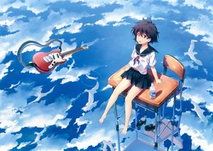 Rating: Safe Score: 47 Tags: guitar instrument kuuchuu_yousai original reflection scan seifuku water User: luckyluna