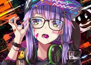 Rating: Safe Score: 86 Tags: bandaid camera candy close flask_(pandora) glasses green_eyes hat headphones lollipop purple_hair tattoo vocaloid voiceroid wristwear yuzuki_yukari User: RyuZU