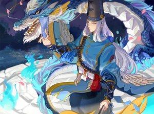 Rating: Safe Score: 28 Tags: abe_no_seimei_(onmyouji) achyue all_male blue_eyes dragon hat long_hair male onmyouji petals white_hair wings User: RyuZU