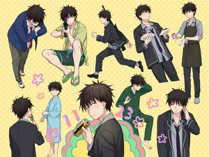 Rating: Safe Score: 6 Tags: all_male apron barefoot black_hair chigusa_kasumi drink food gun headphones male pajamas qualidea_code sekiya_asami short_hair suit tie weapon yellow User: otaku_emmy