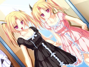 Rating: Safe Score: 57 Tags: blonde_hair game_cg magus_tale nina_geminis red_eyes rena_geminis tenmaso twins twintails whirlpool User: acucar11