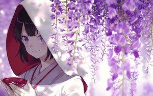 Rating: Safe Score: 89 Tags: black_hair close drink flowers hoodie japanese_clothes kimono original purple_eyes sake short_hair tagme_(artist) wedding_attire User: luckyluna