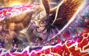 Rating: Safe Score: 19 Tags: bettle_(b_s_a_n) black_hair chain long_hair orange_eyes sennen_sensou_aigis sophie_(sennen_sensou_aigis) weapon wings User: RyuZU
