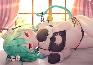 Rating: Safe Score: 93 Tags: animal animal_ears bed bird blush catgirl gloves green_hair hololive navel red_eyes tail twintails uruha_rushia white_clover_(unfy8472) User: BattlequeenYume