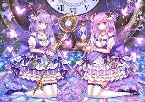 Rating: Safe Score: 28 Tags: 2girls lolita_fashion long_hair original purple purple_eyes purple_hair staff thighhighs yuzushiro User: luckyluna