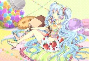 Rating: Safe Score: 77 Tags: food fruit hatsune_miku iroha_(shiki) long_hair skirt strawberry twintails vocaloid wristwear User: Flandre93