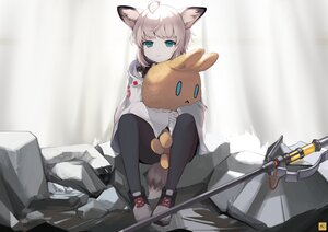 Rating: Safe Score: 53 Tags: 160mp animal_ears aqua_eyes arknights blonde_hair foxgirl hoodie hug pantyhose ruins short_hair staff sussurro_(arknights) tail User: otaku_emmy