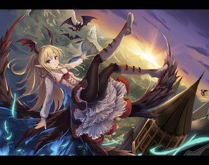 Rating: Safe Score: 165 Tags: animal bat blonde_hair boots brown_eyes eruthika granblue_fantasy long_hair pantyhose pointed_ears sunset vampire vampy wings User: Flandre93