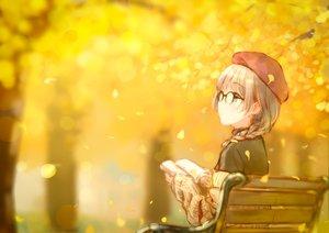 Rating: Safe Score: 75 Tags: aqua_eyes autumn book braids forest glasses hat hiten_goane_ryu leaves original shirt tree white_hair User: mattiasc02