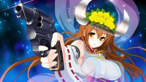 Rating: Questionable Score: 52 Tags: axanael brown_hair game_cg gun mizuha_(axanael) nitroplus tsuji_santa weapon User: Wiresetc