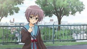 Rating: Safe Score: 13 Tags: blush brown_eyes building city game_cg glasses nagato_yuki purple_hair seifuku short_hair suzumiya_haruhi_no_tsuisou suzumiya_haruhi_no_yuutsu tree User: SciFi