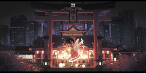 Rating: Safe Score: 94 Tags: black_hair brown_eyes building city hakurei_reimu japanese_clothes long_hair miko night shrine sky stars torii touhou wand watermark xtears_kitsune User: BattlequeenYume