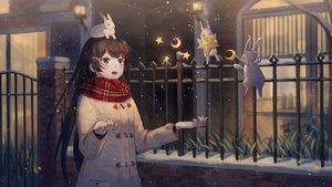 Rating: Safe Score: 61 Tags: animal blue_eyes blush brown_hair ji_dao_ji long_hair nijisanji rabbit scarf snow tsukino_mito User: RyuZU