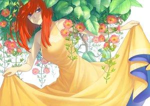 Rating: Safe Score: 17 Tags: blue_eyes dress flowers long_hair minami_(minami373916) orange_hair original skirt_lift white User: RyuZU