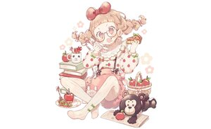 Rating: Safe Score: 16 Tags: apple blush book bow braids brown_eyes brown_hair candy food fruit glasses loli original paper phone shirt shorts teddy_bear twintails wakanagi_eku white User: otaku_emmy