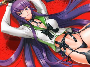 Rating: Questionable Score: 159 Tags: busujima_saeko cleavage garter_belt highschool_of_the_dead inazuma long_hair panties purple_hair seifuku stockings sword thighhighs underwear weapon User: Wiresetc