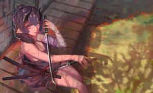 Rating: Safe Score: 61 Tags: aqua_eyes bandage braids breasts cleavage demon dress horns katana long_hair original pointed_ears ponytail purple_hair rsef scar summer_dress sword weapon User: otaku_emmy