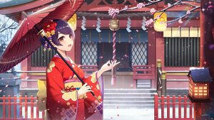 Rating: Safe Score: 75 Tags: japanese_clothes kimono l.bou original purple_hair red_hair short_hair shrine umbrella User: Fepple