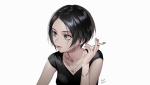 Rating: Safe Score: 38 Tags: black_hair cigarette foo_midori gray_eyes necklace original short_hair signed third-party_edit wristwear User: otaku_emmy