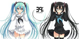 Rating: Safe Score: 223 Tags: aqua_hair black_hair erinngi glasses hatsune_miku headphones long_hair seifuku thighhighs twintails vocaloid white User: HawthorneKitty