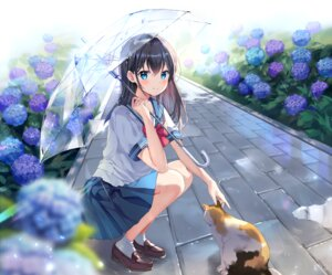 Rating: Safe Score: 68 Tags: animal brown_hair cat flowers long_hair mayo_(miyusa) original rain school_uniform skirt socks umbrella water User: BattlequeenYume