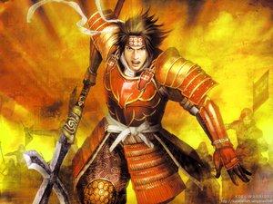 Rating: Safe Score: 20 Tags: all_male armor blue_eyes bow brown_hair gloves headband male ribbons samurai sanada_yukimura sengoku_basara short_hair spear tagme weapon User: w7382001