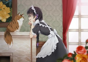 Rating: Safe Score: 81 Tags: animal apron black_eyes black_hair bow braids cat dress flowers glasses hazuki_natsu headdress long_hair maid original ponytail signed User: otaku_emmy